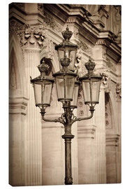 Canvas  Lamp posts and columns at the Louvre Palace, Louvre Museum, Paris, France. - age fotostock