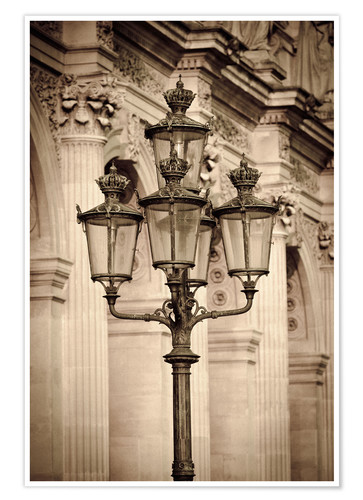 Premium poster Lamp posts and columns at the Louvre Palace, Louvre Museum, Paris, France.