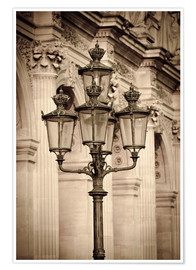 Premium poster  Lamp posts and columns at the Louvre Palace, Louvre Museum, Paris, France. - age fotostock