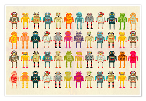 Premium poster Toy robots in a row