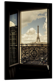 Acrylic print  The Eiffel tower through a window - age fotostock