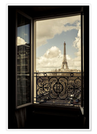 Premium poster The Eiffel tower through a window