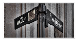 Poster  NYC Wall Street And Broadway Sign-New York City´s Broadway Canyon of Heroes and Wall Street Sign. - age fotostock
