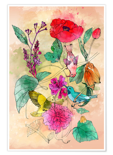 Premium poster Variation of birds and flowers