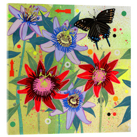 Ikon Images - Black swallowtail and passion flowers