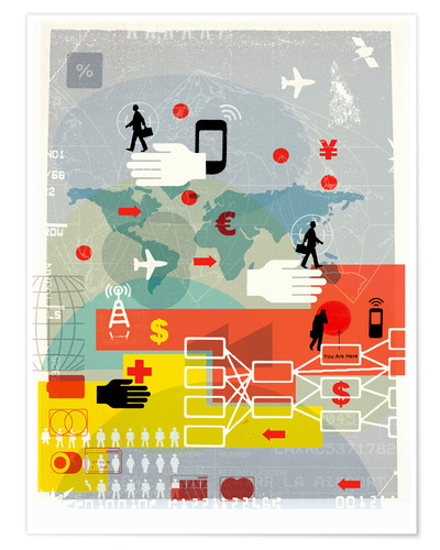 Premium poster Global communication, finance and travel