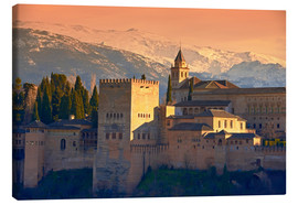 Canvas print  Sierra Nevada and the Alhambra at sunset - age fotostock