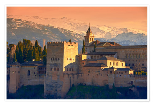 Premium poster Sierra Nevada and the Alhambra at sunset