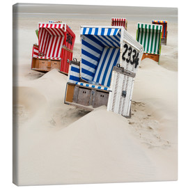 Canvas  Beach chairs on Ostfriesland - Roland T. Frank