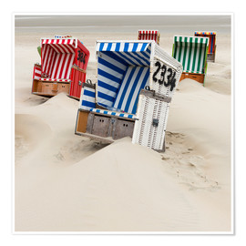 Premium poster Beach chairs on Ostfriesland