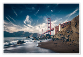 Premium poster Beach and Golden Gate Bridge