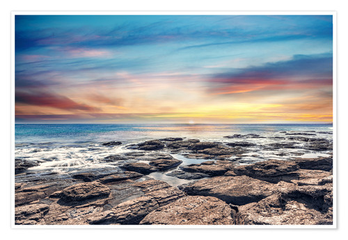 Premium poster Lonely coastal landscape in the sunset