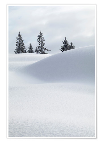 Premium poster Snow dunes in front of white sky