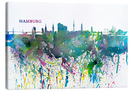 Canvas  Skyline HAMBURG Colorful Silhouette Splash - M. Bleichner