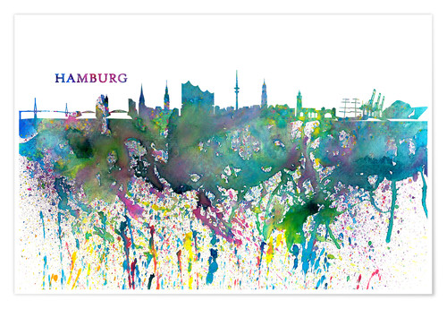 Premium poster Skyline HAMBURG Colorful Silhouette Splash