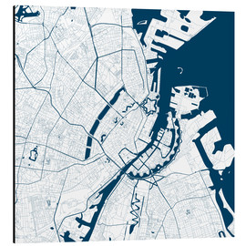 Alu-Dibond  City map of Copenhagen - 44spaces