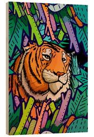 Wood print  Tiger in the undergrowth - Stephen Wade