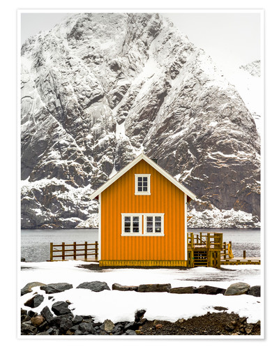 Premium poster Yellow hut on the edge of the water