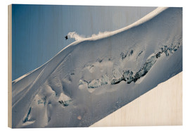 Wood print  Freeriding snowboarder on a snowy slope - Dean Blotto Gray