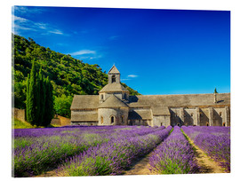 Acrylic print  Monastery with lavender field - Terry Eggers
