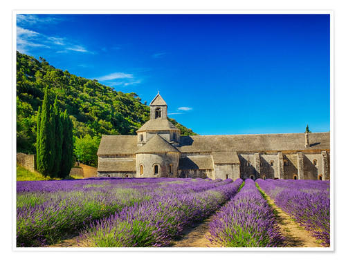 Premium poster Monastery with lavender field