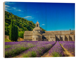 Wood print  Monastery with lavender field - Terry Eggers