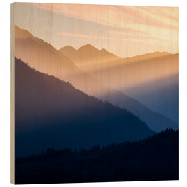 Wood print  Sunset between the mountains - Don Paulson