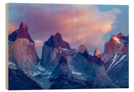 Wood print  Torres del Paine at sunrise - Cathy & Gordon Illg