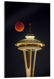 Acrylic glass  Blood moon over Seattle Space Needle - Gary Luhm