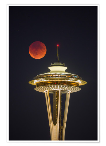 Premium poster Bloodmoon over Seattle