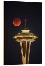Wood print  Bloodmoon over Seattle - Gary Luhm