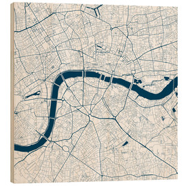 Wood print  City map of London - 44spaces