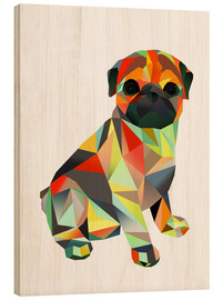 Wood print  Molly Pug 2 - Miss Coopers Lounge