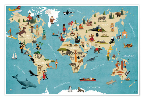 Poster World map with animals