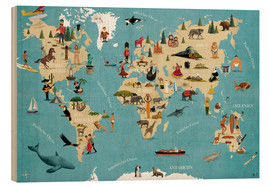 Wood  World map with animals - coico