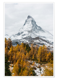 Premium poster Matterhorn mountain peak in autumn  View from Riffelalp, Gornergrat, Zermatt, Switzerland
