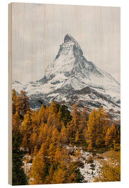 Wood print  Matterhorn mountain peak in autumn  View from Riffelalp, Gornergrat, Zermatt, Switzerland - Peter Wey