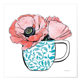 Premium poster  Floral Teacups II - Beth Grove