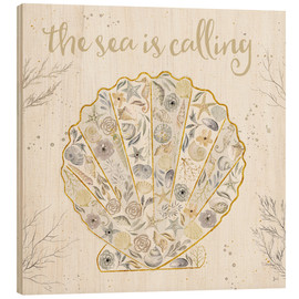 Wood print  Seaside Blossoms I Neutral - Jess Aiken