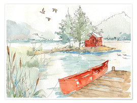 Premium poster Lakehouse II Red