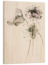 Wood print  Three Somniferums Poppies - Shirley Novak
