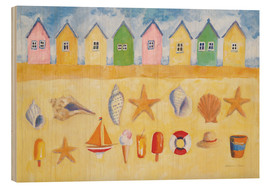 Wood print  Beach huts - Michael Clark