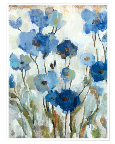 Premium poster Abstracted Floral in Blue II