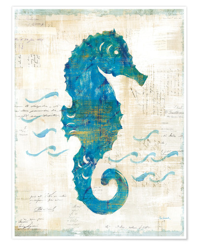 Premium poster Seahorses and waves III