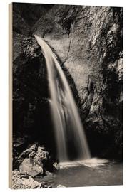 Wood print  Black and White image of Chessiloch Waterfall, Entlebuch, Switzerland - Peter Wey