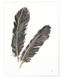 Premium poster  Gold Feathers IV on White - Chris Paschke