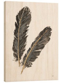 Wood print  Gold Feathers IV - Chris Paschke
