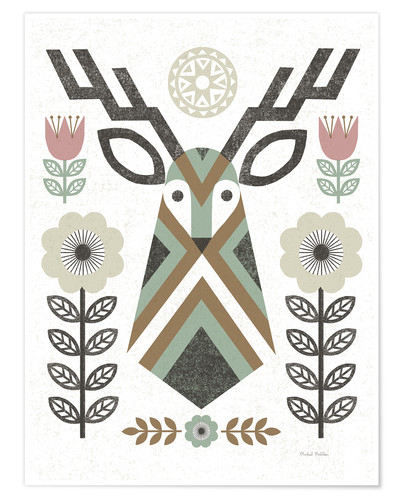 Premium poster Folk Lodge Deer Hygge