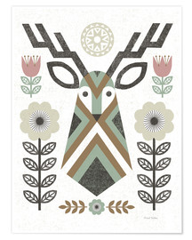 Premium poster  Folk Lodge Deer - Michael Mullan