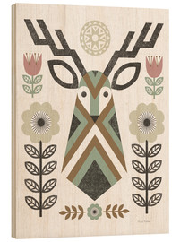 Wood print  Folk Lodge Deer - Michael Mullan